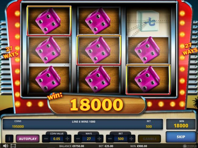 An 18000 coin super win triggered by multiple winning paylines.