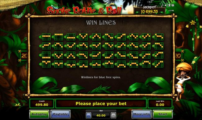 Blue Free Spins Win Lines 1-40