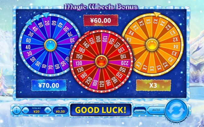 Bonus wheels spin and award cash prizes and multiplier
