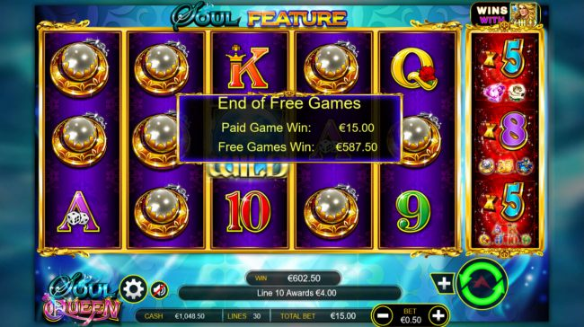 Total free games payout 602 credits