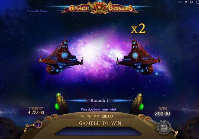 Selecting the correct space ship during gamble mode will double your current winnings.