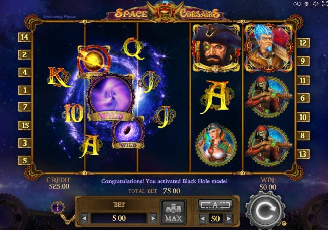 During the Black Hole mode, the symbols located on reels 1, 2 and 3 are rotated and re-aligned into a new pattern, thus, giving player a chance for enhanced winnings.