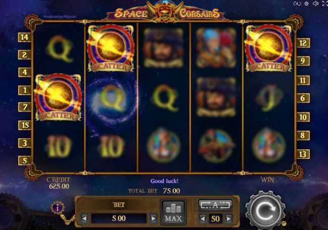 landing three or more scatters anywhere on the reels triggers the free spins feature.