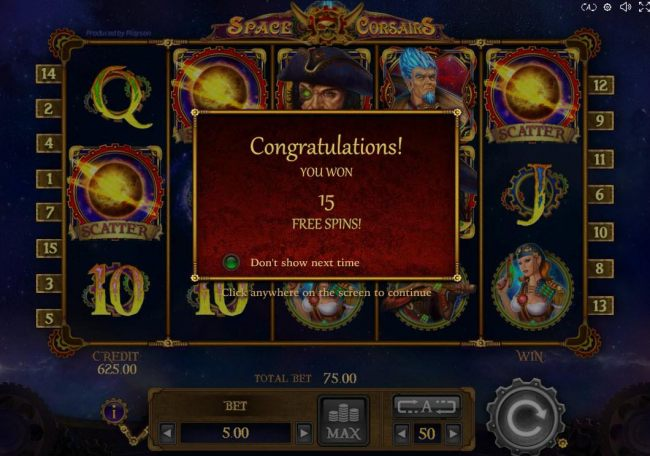 Free Spins feature triggered and awards player with 15 free games.