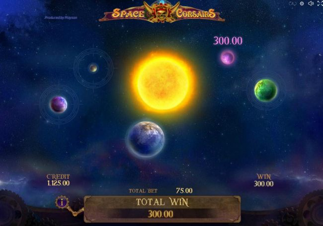 Bonus Game Board - Click on planets to reveal your prize award.