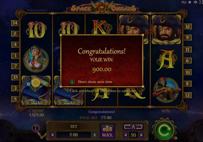 Player is a warded a total of 900.00 for both Free Spins and Bonus Game play.