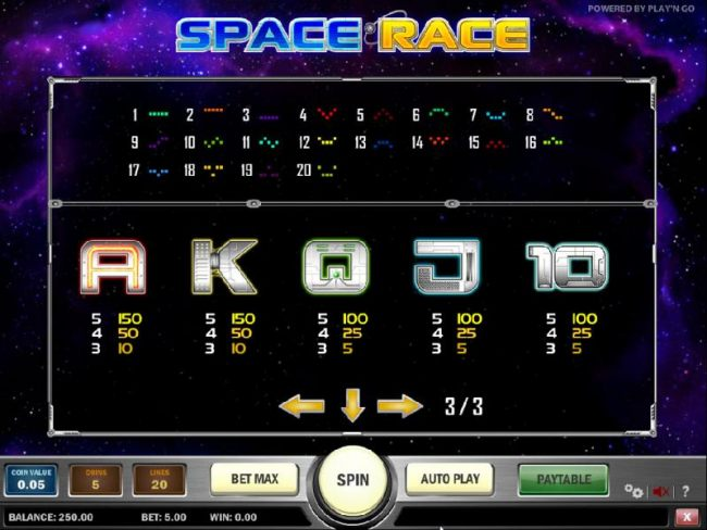 slot game low symbols paytable and payline diagrams