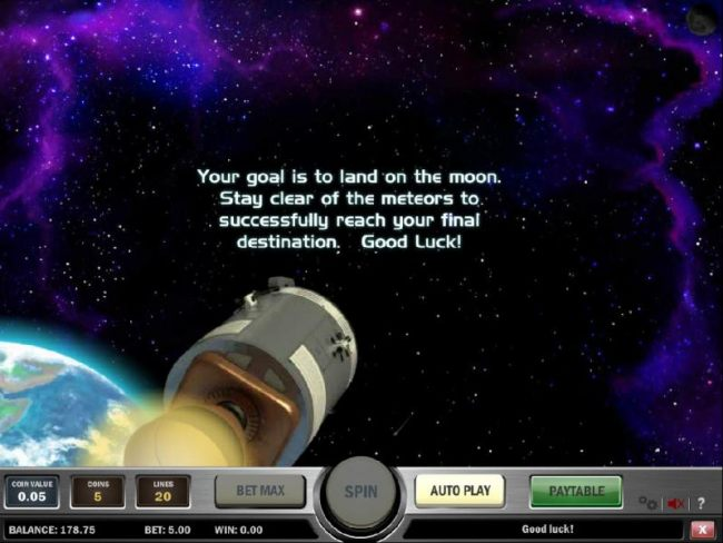 your goal is to land on the moon. stay clear of the meteors to successfully reach your final destination.