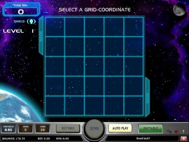 select a grid-coordinate to land your space ship