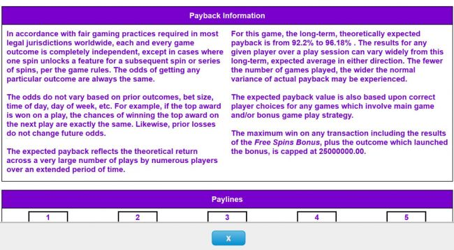 Payback Information - Theoretical return To Player is from 92.20% to 96.18%. The maximum win on any transaction is capped at 25,000,000.