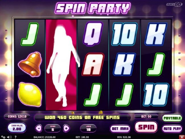 won 460 coins on free spins