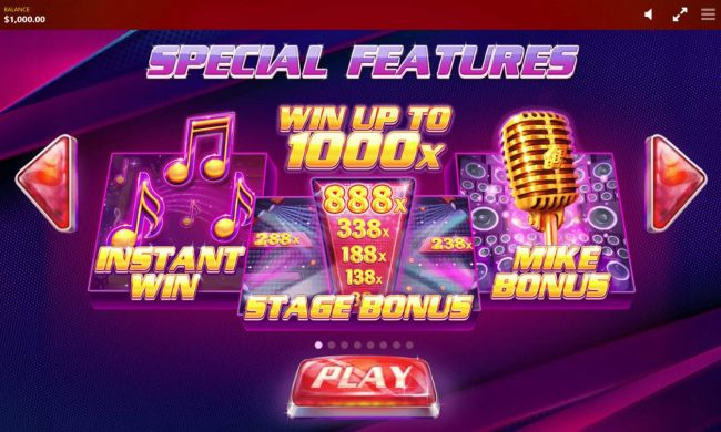 Game features include: Instant Win, Stage Bonus and Mike Bonus.