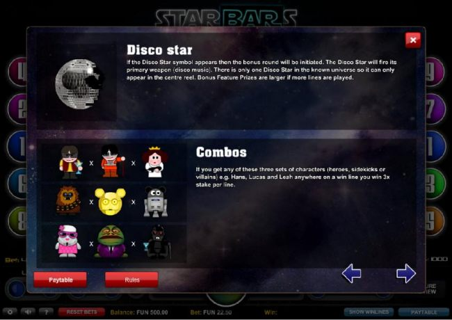 Disco Star and Combos Feature Rules.
