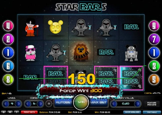 A Force Win! Multiple winning paylines triggers a 300 coin jackpot.