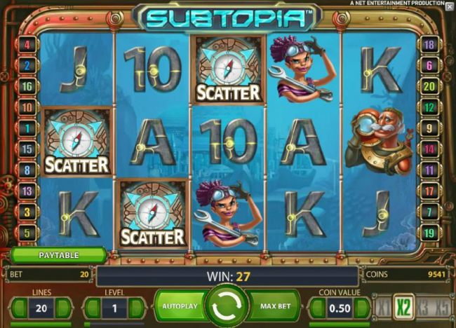 three scatter symbols anywhere triggers the free spins feature