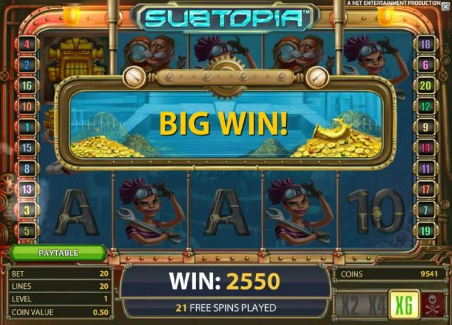 with the x6 multiplier, a 2550 coin big win is triggered