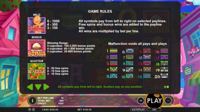 General Game Rules and Payline Diagrams