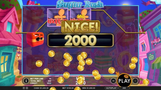 Satcked wilds on reels 2 and 3 leads to a 2000 coin jackpot payout.