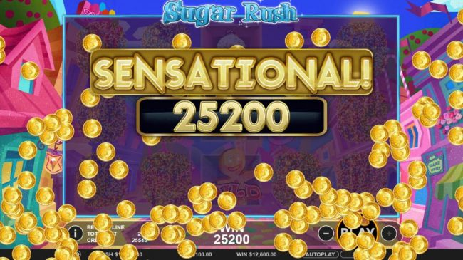 A 25,200 coin sensational payout triggered by multiple winning paylines.
