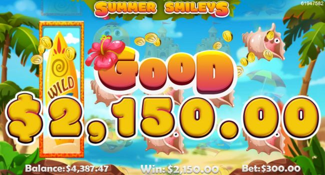 Multiple winning paylines leads to a 2150 payout
