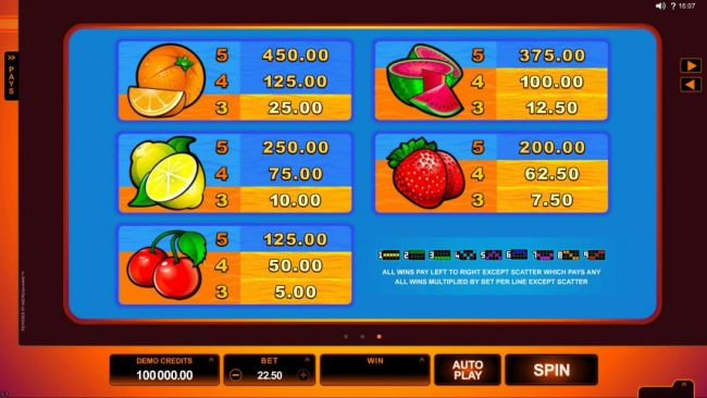 Low value game symbols paytable and payline diagrams