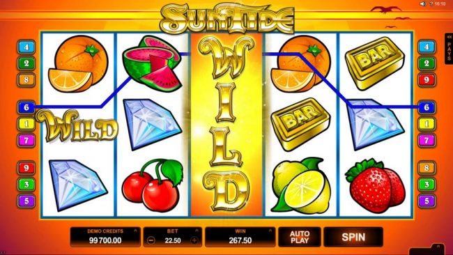 Expanded wild symbol on reel three leads to a 267.50 big win.