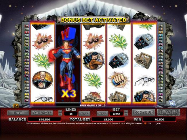 expanding wild with a multiplier is available duing the free games feature. the wild will move from reel to reel during the free spins.