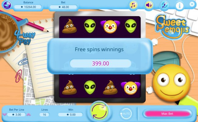 Total free games payout 399 coins