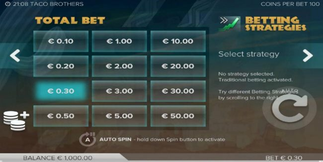 Select the bet range that fits your comfort level.