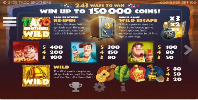 Slot game symbols paytable - 243 ways to win - Win up to 150,000 coins! Wild symbols is represented by the Taco Brothers game logo and a gold bell. The scatter symbol for this game is depiocted by a safe, 3 safe symbols start the free spins bonus game.