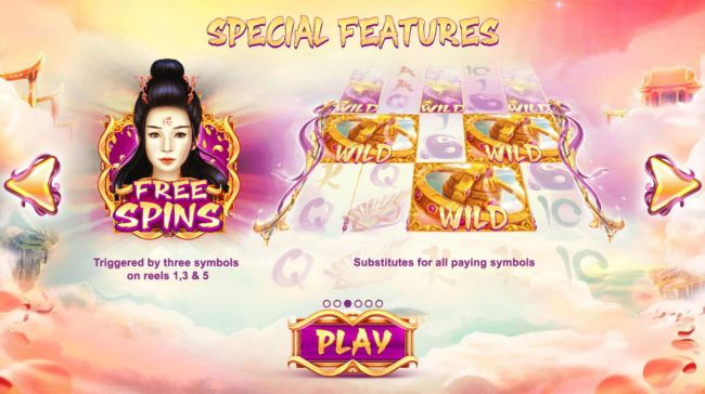 Special Feature - Free Spins triggered by three symbols on reels 1, 3 and 5.