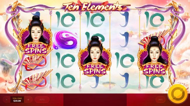 Free Spins feature triggers when player lands three free spins symbols anywhere on reels 1, 3 and 5.