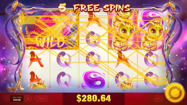 A big win triggered by multiple winning paylines during the free spins feature