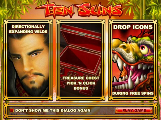 Game features include: Directional Expanding Wilds, Treasure Chest Pick N Click Bonus and Drop Icons during Free Spins.