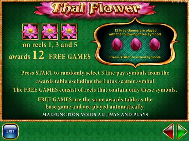 Three lotus flower symbols on reels 1, 3 and 5 awards 12 free spins.