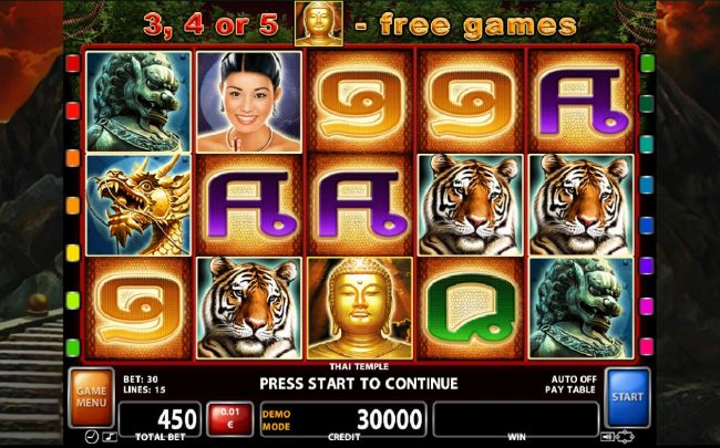 A Thai culture themed main game board featuring five reels and 15 paylines with a $300,000 max payout