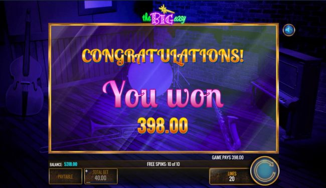 Total free spins payout 398 coins