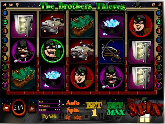 Main game board featuring five reels and 9 paylines with a $20,000 max payout.