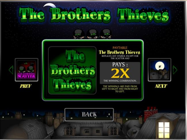 The Brothers Thieves logo is the games wild symbol and replaces any symbol except for scatter and multipliers