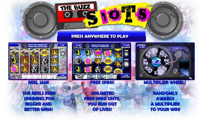 Game features include: Reel Jam, Free Spins and Multipliers