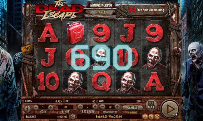 Multiple winning paylines triggers a 690 coin big win during the free spins feature!