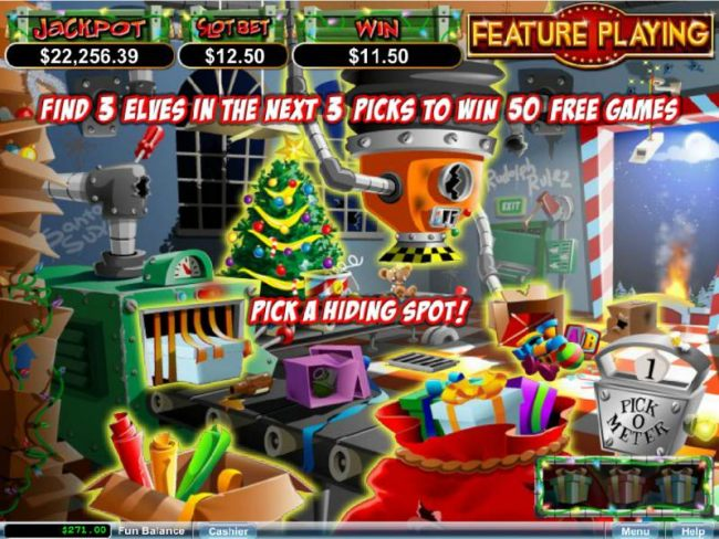 Find three elfs in the first 3 picks and win 50 free games