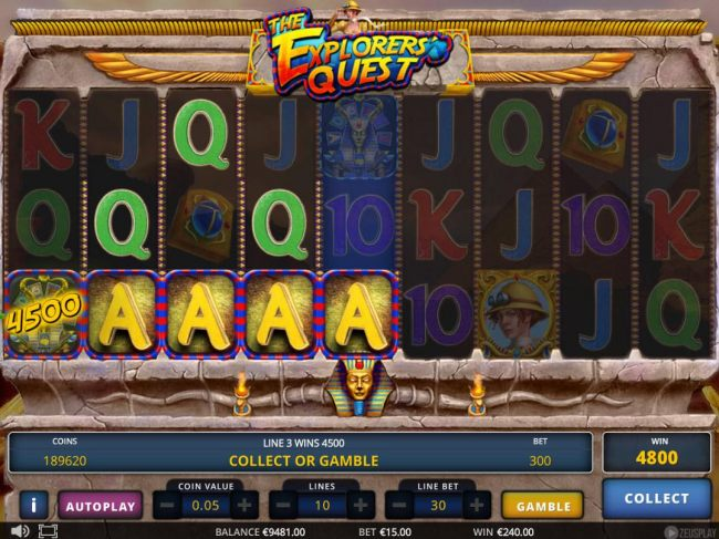 A 4800 coin jackpot win triggered by a pair of winning paylines.