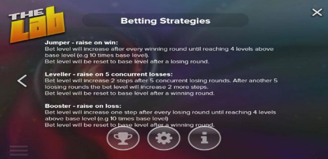 Betting Strategies - Choose the strategy that suits your style of play - Jumper, Leveller or Booster