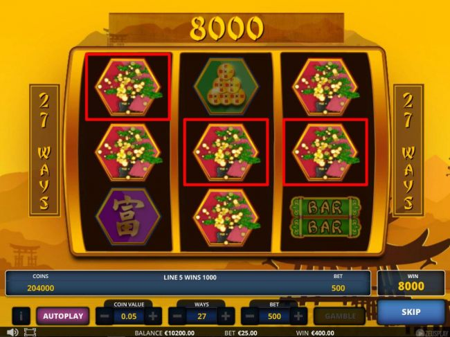A 7000 coin jackpot triggered by multiple winning combinations.