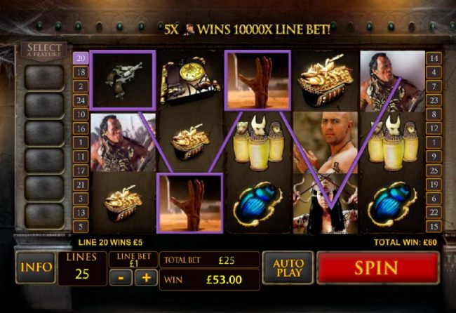 wild symbol leads to 60 coin jackpot