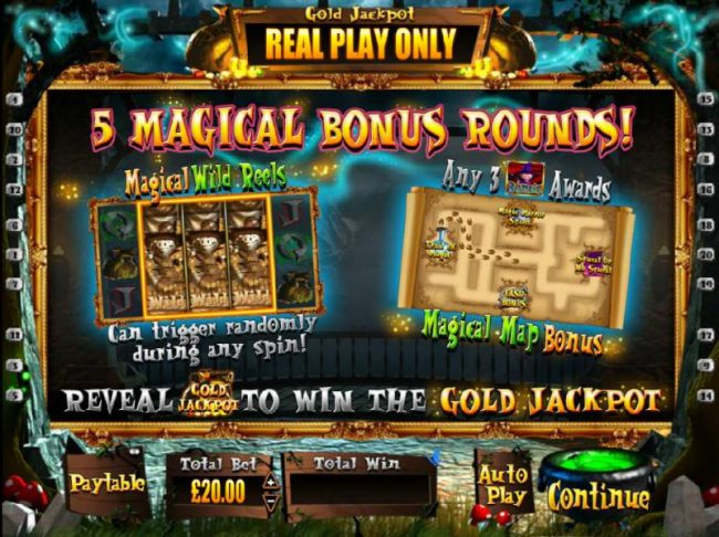 featuring 5 Magical Bonus Rounds. Magical Wild Reels can trigger randomly during any spin! Any 3 Pig Wizard Bonus symbols awards the Magical Map Bonus. Reveal Gold Jackpot to win the Gold Jackpot!