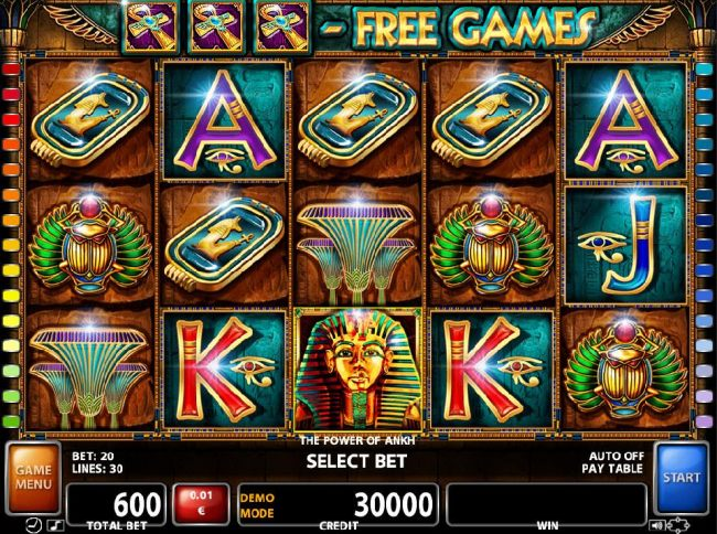 An Egyptian themed main game board featuring five reels and 30 paylines with a $180,000 max payout