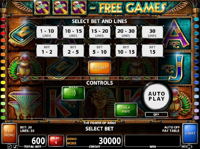 Select Bet and Lines - 1 to 30 Lines and 1 to 15 coins per line.