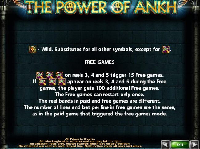 3, 4 or 5 Ankh Cross scatter icons trigger 15 free games.